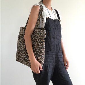J. Crew canvas leopard tote book bag